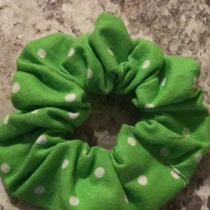 Lime green stocking stuff hair scrunchie Polkadot